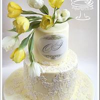 Yellow Tulips Wedding Cake