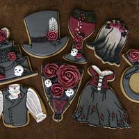 Victorian Gothic Rose Wedding Cookie Set