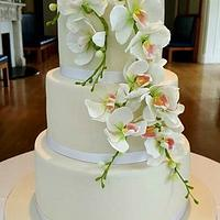 Classic Orchids Wedding Cake