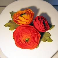 Cake with ranunculus in orange by Zuckerdeerns