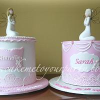 Matching Angel Baptism Cakes