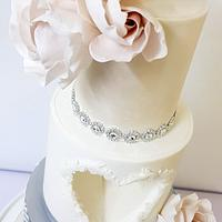 Heart shape wedding cake