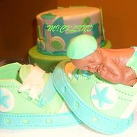 baby shoes and baby by Linda
