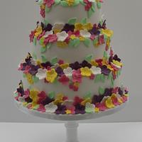 Garden blossoms wedding cake