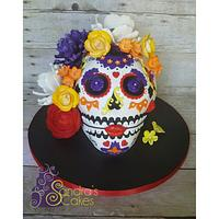 Colorful skull birthday cake