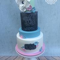 Spring candy coloured chalkboard wedding cake
