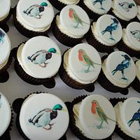 Printed cupcake toppers hand painted effect by Krumblies Wedding Cakes
