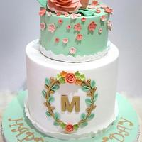 Chic Green & white cake