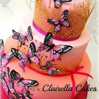 Pink Sunset Handpainted Butterfly Cake