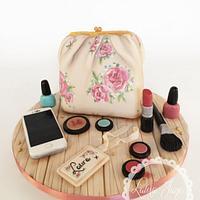 Hand painted Vintage Make-up Bag