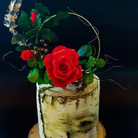 Silver birch and red Rose's