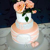 Rose and Grey Wedding Cake with Rose