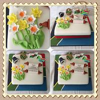 Welsh & South African Themed Cake