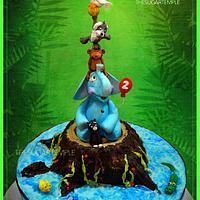 Animal tower birthday cake