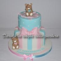 Teddy bears baptism cake