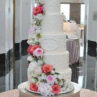 5 Tiered Floral Wedding Cake