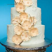 Mint Green and Coral Shabby Chic Cake