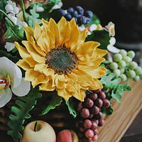 Flowers & fruits basket by lovescakes