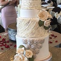 Romantic ruffle cake in Ivory and Silver