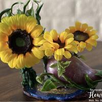 Sunflowers and Aubergine...Botanical Shoe Isomalt Cake Topper