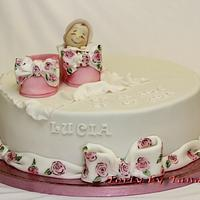 Romantic christening cake