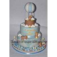 Teddy bear in hot balloon cake