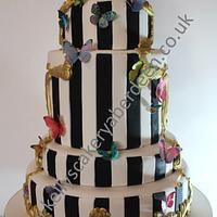 Framed butterfly wedding cake