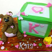 Block and Teddy bear baby shower cake