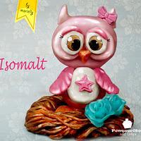 Isomalt pink owl