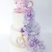 dusky lilac and pinks wedding cake