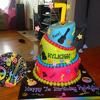 Three tiered topsy turvy MULTI COLORED Girls Cake ROCK AND ROLL!!!!!!!