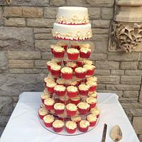 Cupcake tower cerise pink and gold