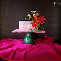 Fondant cake with Sugar flowers