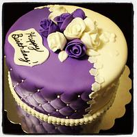 Violet and white roses birthday cake