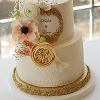 Floral Cake with Gold