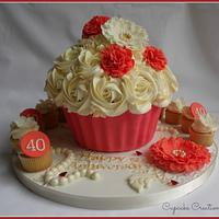 Ruby Wedding Giant Cupcake with minis