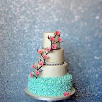 Wedding Cake with pink blossom