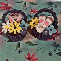Easter bunny flower basket cupcakes