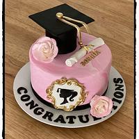 Pretty in Pink graduation cake