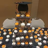 High school grad cake and cupcakes