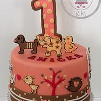 1st Birthday Animal Cake