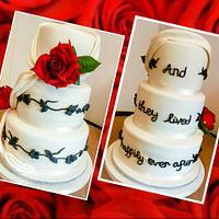 Red rose swag wedding cake