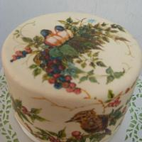 Hand painted cake -birds and berries