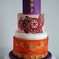 Indian jasmine henna and lace wedding cake