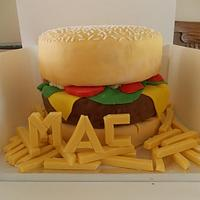 Burger and Chips Birthday Cake