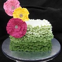 green ombre ruffle spring cake by heather369