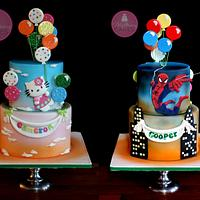 Double Sided Cake, Hello Kitty & Spiderman