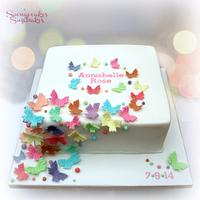 Cascading Butterfly Naming Cake