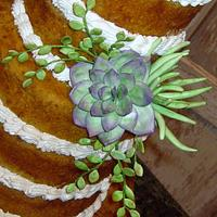 Unfrosted succulent wedding cake by sking