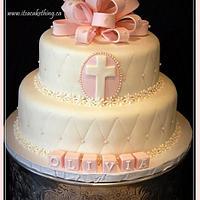 Pink Baptism Cake